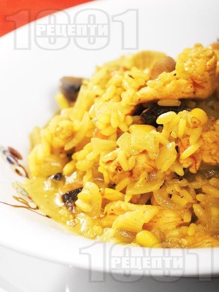 Ризото с пилешко месо, куркума, шафран, кедрови ядки и гъби печурки - снимка на рецептата